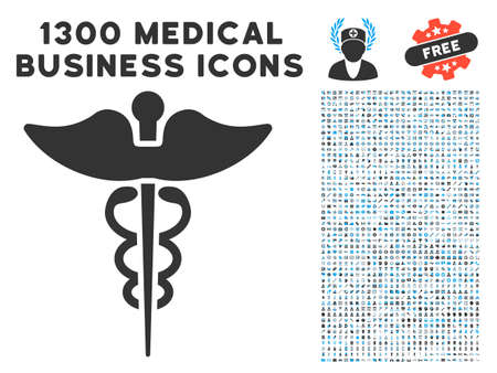 Medicine Caduceus Symbol gray vector icon with medical commerce icons. Collection style is flat bicolor light blue and gray pictograms.
