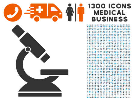 Microscope gray vector icon with 1300 medicine commerce icons. Collection style is flat bicolor light blue and gray pictograms. Illustration