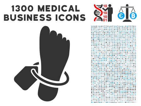 Morgue Tagged Foot grey vector icon with 1300 clinic commerce icons. Collection style is flat bicolor light blue and gray pictograms.