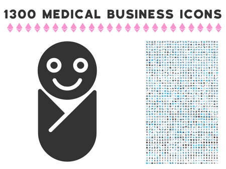 Newborn grey vector icon with 1300 health care commercial pictographs. Set style is flat bicolor light blue and gray pictograms.