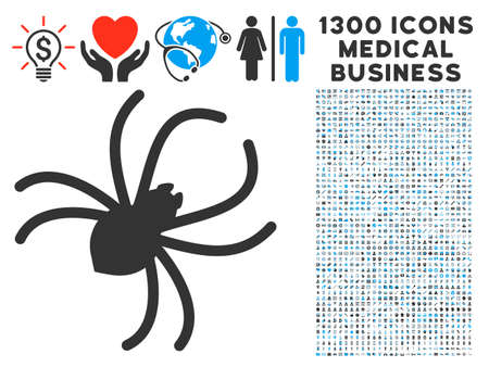 Parasite Spider grey vector icon with 1300 doctor commercial symbols. Clipart style is flat bicolor light blue and gray pictograms.