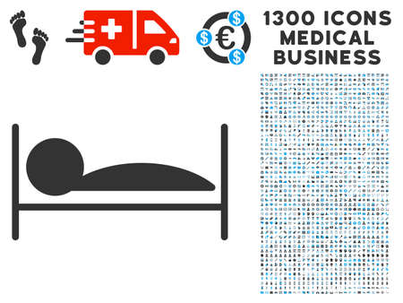lying in bed: Patient Sleep grey vector icon with 1300 medicine commerce pictographs. Collection style is flat bicolor light blue and gray pictograms. Illustration