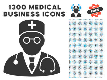 auscultation: Physician grey vector icon with 1300 healthcare commerce icons. Clipart style is flat bicolor light blue and gray pictograms.
