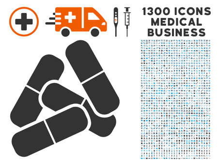 Pills gray vector icon with 1300 medicine commerce symbols. Set style is flat bicolor light blue and gray pictograms.