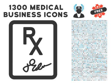 Rx Symbol Grey Vector Icon With 1300 Clinic Commerce Symbols