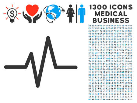 Pulse Curve grey vector icon with 1300 clinic business symbols. Clipart style is flat bicolor light blue and gray pictograms.