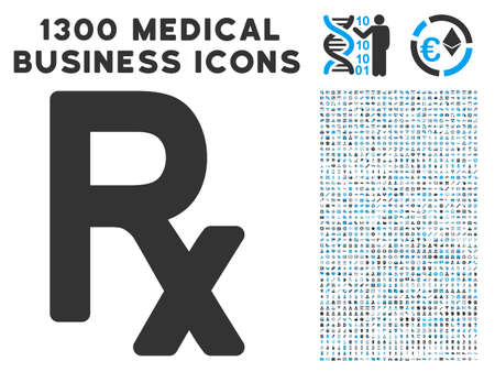Rx Symbol grey vector icon with 1300 clinic commerce symbols. Clipart style is flat bicolor light blue and gray pictograms.