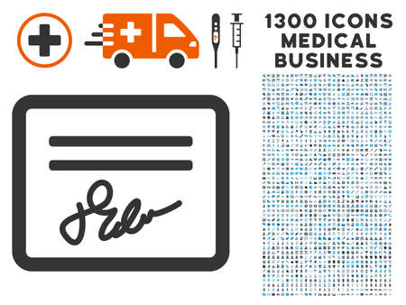 Signed Cheque grey vector icon with 1300 health care commercial pictograms. Collection style is flat bicolor light blue and gray pictograms.