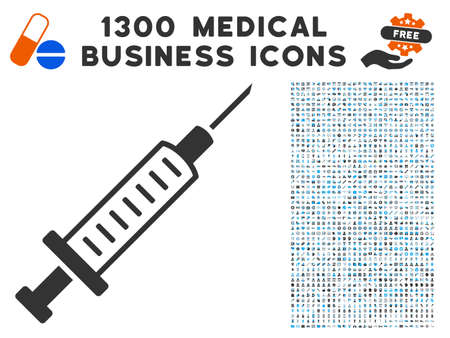 Syringe grey vector icon with 1300 clinic business symbols. Clipart style is flat bicolor light blue and gray pictograms. Illustration