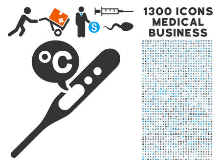 Temperature Celsius grey vector icon with 1300 doctor commercial pictographs. Clipart style is flat bicolor light blue and gray pictograms.