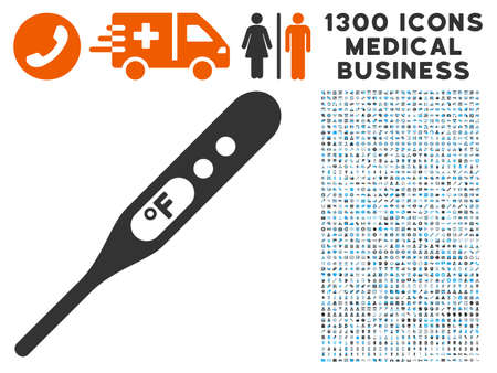 Thermometer Fahrenheit grey vector icon with 1300 doctor commercial symbols. Clipart style is flat bicolor light blue and gray pictograms.