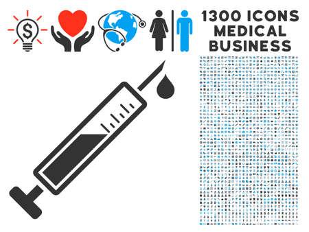 Vaccin grijs pictogram met 1300 klinische bedrijfssymbolen in illustraties, vlakke stijl, lichtblauwe en grijze pictogrammen.