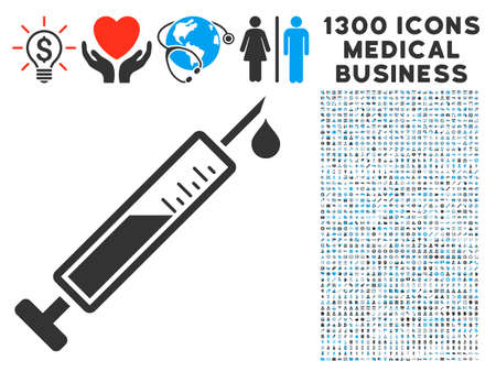Vaccine gray icon with 1300 clinic business symbols in Clip art, flat style, light blue and gray pictograms.