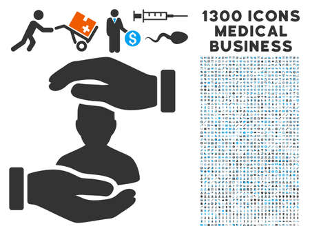 User Care Hands gray icon with 1300 clinic business symbols in Clip art, flat style, light blue and gray pictograms.