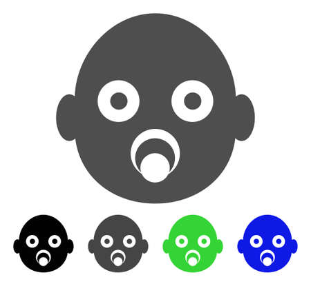 Baby Head icon. Vector illustration style is a flat iconic baby head symbol with black, gray, green, blue color variants. Designed for web and software interfaces.