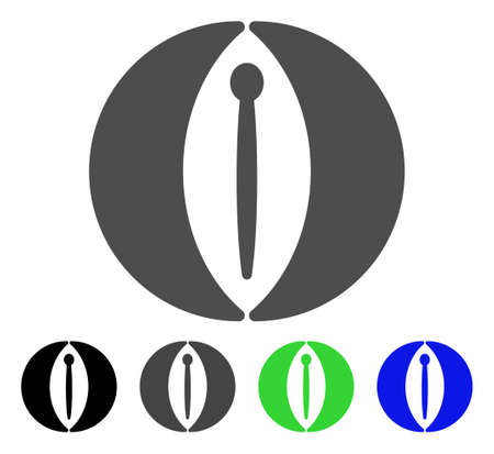 Female Genitals icon. Vector illustration style is a flat iconic female genitals symbol with black, grey, green, blue color variants. Designed for web and software interfaces. Illustration