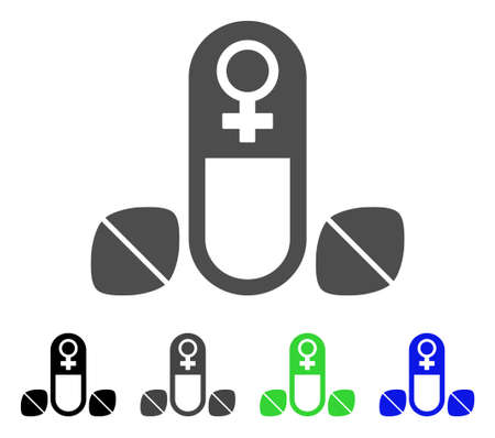 pharmacy symbol: Female Power Tablets icon. Vector illustration style is a flat iconic female power tablets symbol with black, grey, green, blue color variants. Designed for web and software interfaces. Illustration