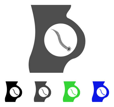 infected: Intestinal Parasite icon. Vector illustration style is a flat iconic intestinal parasite symbol with black, grey, green, blue color variants. Designed for web and software interfaces.