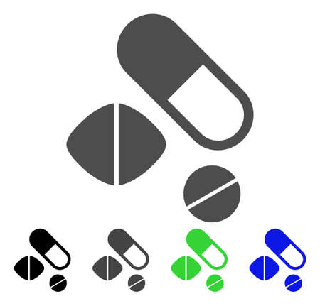 Medication Pills icon. Vector illustration style is a flat iconic medication pills symbol with black, grey, green, blue color versions. Designed for web and software interfaces. Illustration