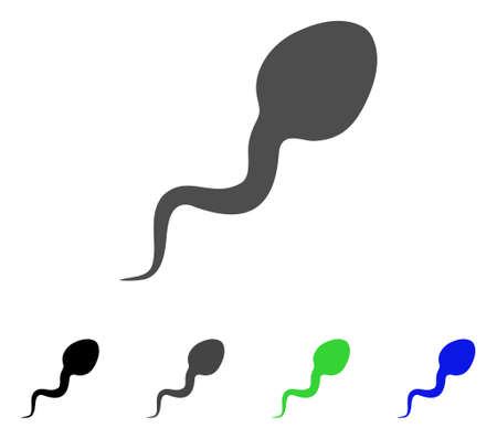 Spermatozoon icon. Vector illustration style is a flat iconic spermatozoon symbol with black, gray, green, blue color variants. Designed for web and software interfaces.