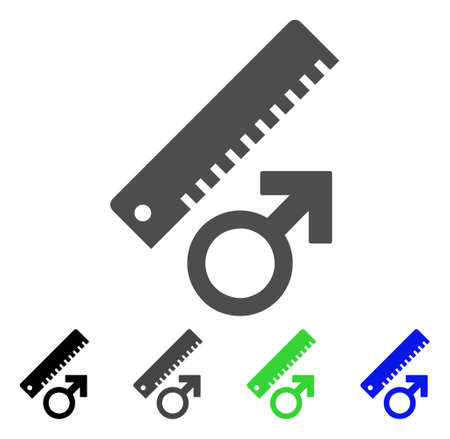 Penis Measure icon. Vector illustration style is a flat iconic penis measure symbol with black, gray, green, blue color versions. Designed for web and software interfaces.