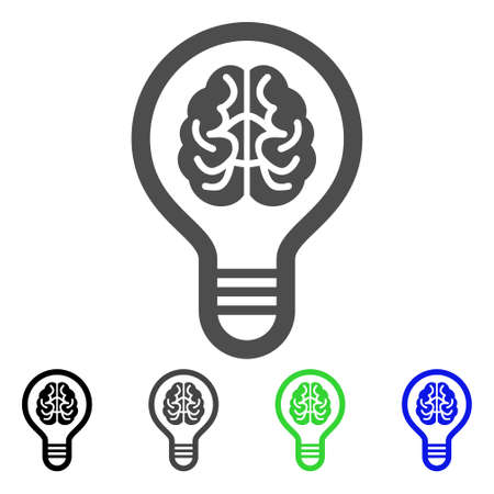Brain Bulb icon symbol with black, gray, green, blue color variants.