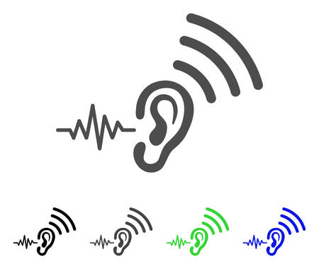 Listen And Transmit icon. Vector illustration style is a flat iconic listen and transmit symbol with black, grey, green, blue color versions. Designed for web and software interfaces. Banco de Imagens - 85470296