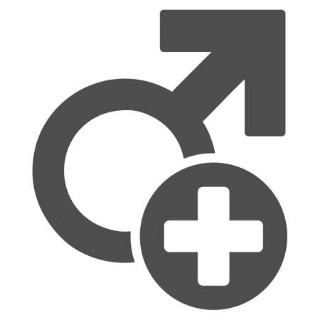 Male Medicine vector icon. Style is flat graphic grey symbol.