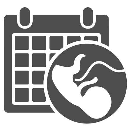 Embryo Calendar vector icon. Style is flat graphic gray symbol.