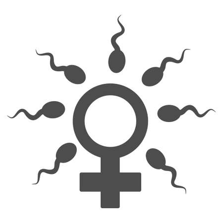 semen: Sperm Fertilization vector pictograph. Style is flat graphic grey symbol.