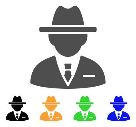 Agent icon. Vector illustration style is a flat iconic agent symbol with black, gray, green, blue, yellow color versions. Designed for web and software interfaces.