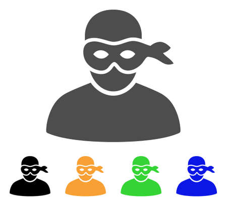 Anonimious Thief icon. Vector illustration style is a flat iconic anonimious thief symbol with black, grey, green, blue, yellow color variants. Designed for web and software interfaces.