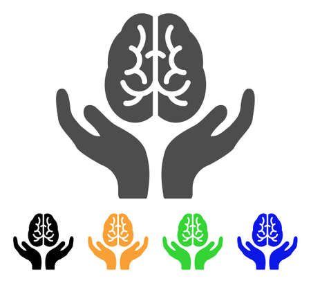 Brain Care Hands icon. Vector illustration style is a flat iconic brain care hands symbol with black, grey, green, blue, yellow color versions. Designed for web and software interfaces.