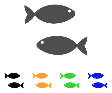 sardine: Fish Pair icon. Vector illustration style is a flat iconic fish pair symbol with black, grey, green, blue, yellow color versions. Designed for web and software interfaces.