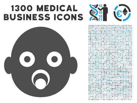 Baby Head grey vector icon with 1300 clinic commercial symbols. Set style is flat bicolor light blue and gray pictograms. Illustration
