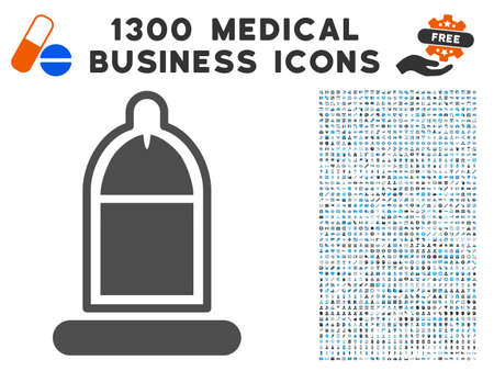 Condom USAge gray vector icon with 1300 doctor commerce pictograms. Clipart style is flat bicolor light blue and gray pictograms. Illustration