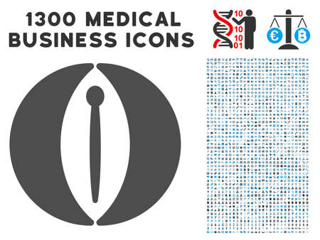 urethral: Icon with 1300 medical commercial pictographs. Set style is flat bicolor light blue and gray pictograms.