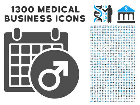 Male Symbol Calendar grey vector icon with 1300 healthcare commerce pictographs. Clipart style is flat bicolor light blue and gray pictograms.