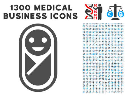 Newborn grey vector icon with 1300 doctor commercial symbols. Clipart style is flat bicolor light blue and gray pictograms.