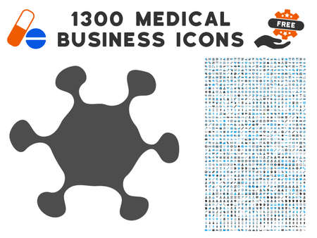 Parasite Cell gray vector icon with 1300 clinic commercial icons. Collection style is flat bicolor light blue and gray pictograms. Illustration