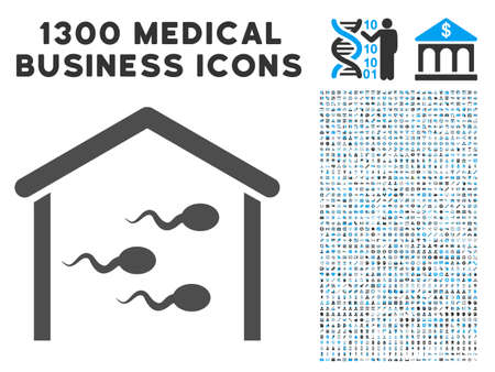 semen: Sperm Bank gray vector icon with 1300 health care business symbols. Collection style is flat bicolor light blue and gray pictograms. Illustration