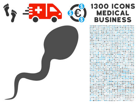 Spermatozoon gray vector icon with 1300 health care commercial icons. Collection style is flat bicolor light blue and gray pictograms. Illustration