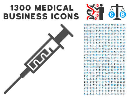 pharmacy symbol: Vaccine gray vector icon with 1300 clinic commerce symbols. Clipart style is flat bicolor light blue and gray pictograms. Illustration
