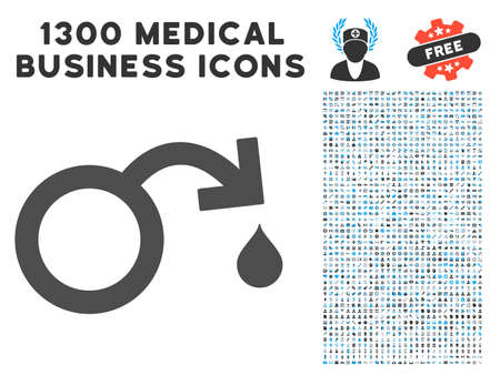 Venereal Disease Impotence gray vector icon with 1300 healthcare business pictographs. Clipart style is flat bicolor light blue and gray pictograms.