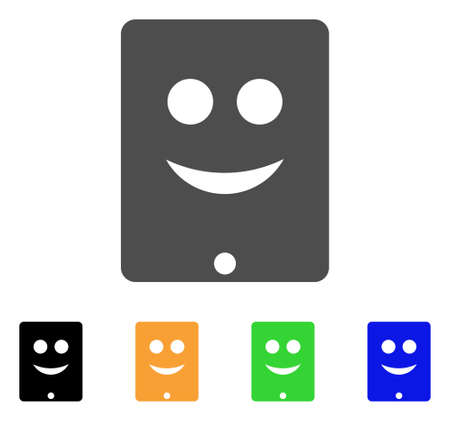 Communicator Smile Smiley icon. Vector illustration style is a flat iconic communicator smile smiley symbol with black, grey, green, blue, yellow color variants. Ilustrace
