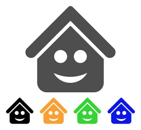 不動産スマイルスマイリーアイコン。ベクトルイラストスタイルは、黒、グレー、緑、青、黄色の色のバリエーションを持つフラット象徴的な不動