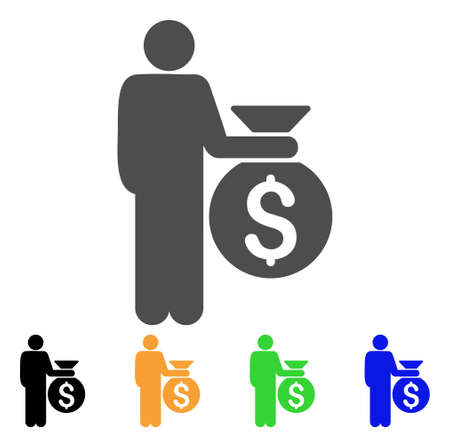 investor: Investor icon. Vector illustration style is a flat iconic investor symbol with black, gray, green, blue, yellow color versions. Designed for web and software interfaces.