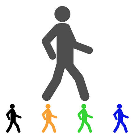 Walking Man icon. Vector illustration style is a flat iconic walking man symbol with black, gray, green, blue, yellow color versions. Designed for web and software interfaces. Vetores