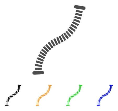 유연한 파이프 아이콘. 벡터 일러스트 레이 션 스타일은 검은 색, 회색, 녹색, 파란색, 노란색 색 변형 플랫 아이언 유연한 파이프 기호입니다. 웹 및 소