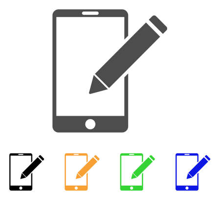 Smartphone Edit Pencil icon. Vector illustration style is a flat iconic smartphone edit pencil symbol with black, gray, green, blue, yellow color variants. Designed for web and software interfaces.